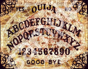 OUIJA Board  Vintage PARIS City map Altered   8x10  Ready to Frame   Digital Collage Sheet