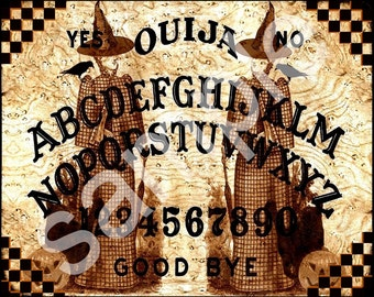 WITCHES OUIJA  Altered for Halloween ...19th Century Altered 8x10 Fashion  Witch  with crows Digital Collage Sheet