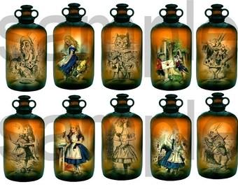 Alice in Wonderland in a Bottle....Antique Medicine Bottle with 10 views Inside....Unique OOAK  Digital Collage Sheet