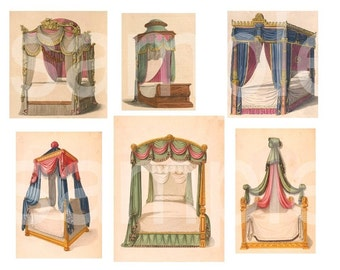 Canopy Beds...Exquisite Antique... French... from Vintage Prints... Digital Collage Sheet