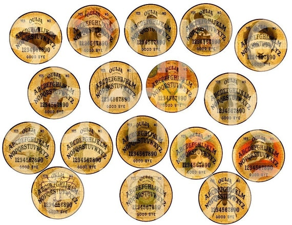 Altered OUIJA BOARDS ..ROUND at Last....17 views..34 total....1 inch for Bottlecaps....Digital Collage Sheet