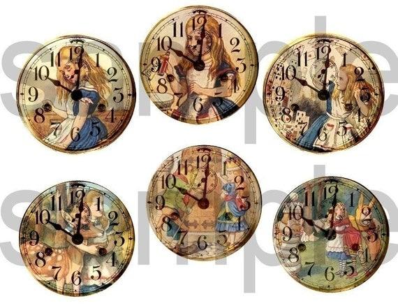 Vintage Tenniel ALICE in WONDERLAND Altered Clock Faces  Digital Collage Sheet