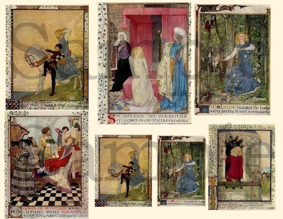 Pay Here Buy Here >> Medieval Fairy Tales Digital Collage Sheet