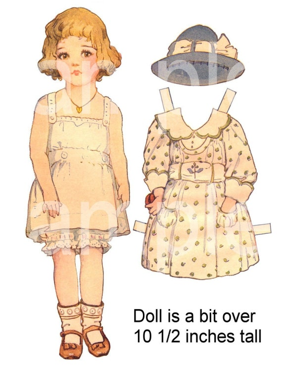 Vintage Paper Doll PaperDoll with 5 Outfits  Sized LARGE  for Little Hands  ADORABLE  Printable on 3 Digital  Sheets