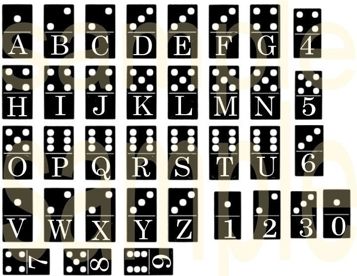 Altered Domino Alphabet Letters And Numbers Charm Size Digital