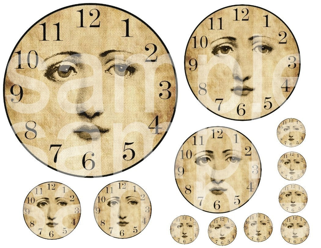 Items Similar To Vintage Angelic Altered Clock Faces No