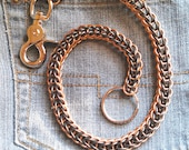 Wallet Chain Blackened Stainless Steel and Bronze Chainmaille Full Persian Style. 21-1/2 inches long