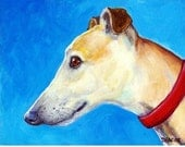Greyhound Dog Art Print of Original Painting by Dottie Dracos, Cream Profile, Whippet