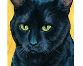 Black Cat Art Print by Dottie Dracos, Black with Green Eyes on Yellow