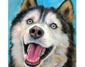 "Siberian Husky Dog Art Print by Dottie Dracos ""Husky Looking Up"""