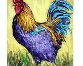 Rooster Farm Animal Art Print by Dottie Dracos, Black copper Maran, chicken, farm bird, fowl, kitchen
