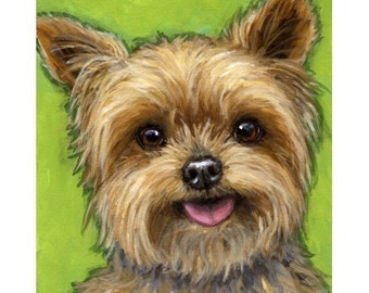 Yorkshire Terrier Dog Art Print of Original Painting by Dottie Dracos, Yorkie on Green