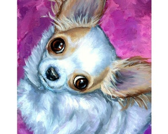 Chihuahua Dog Art Print, Chichi, Painted by Dottie Dracos