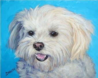 Maltese Art Print of Original Acrylic Dog Painting by Dottie Dracos