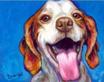 "Brittany Spaniel Art Print of Original Acrylic Painting  ""Big Smile"""