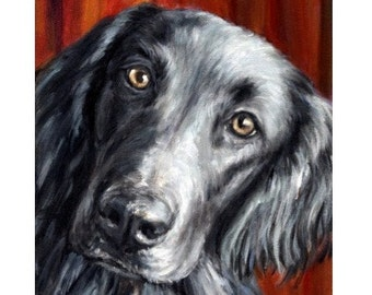 Flatcoated Retriever Dog Art Print Painting by Dottie Dracos, Black Dog on Red