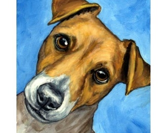 SALE Jack Russell Art Face Dog Art Print of Original Painting by Dottie Dracos, One Only