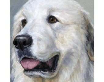 Great Pyrenees Dog Art Print of Original Painting by Dottie Dracos, Pyrenees on Light Grey