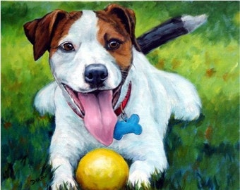 Jack Russell Dog Art Print of Original Painting by Dottie Dracos, Jack with Ball