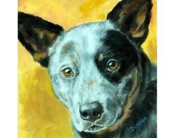 Australian Cattle Dog, Blue Heeler, Dog Art Print of Original Painting by Dottie Dracos