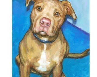 Pit Bull Dog Art Print of Original Painting by Dottie Dracos, Fawn Rednose Pit Looking Up
