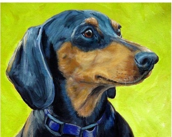 Dachshund Dog Art Print by Dottie Dracos, Doxie Profile on Lime Green