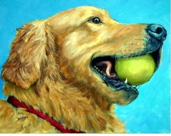 Golden Retriever Art Print of Original Painting Dog Art by Dottie Dracos, Goldie Profile with Tennis Ball, Dog Artist, Retriever Art