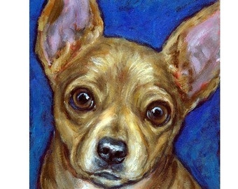 "Chihuahua Dog Art Print of Original Painting by Dottie Dracos ""Tan Chichi on Blue"""