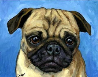 Pug on Lt Blue Dog Art Print of Original Painting by Dottie Dracos