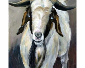 Boer Goat Art, Blue Eyes and Beard, Farm Animal Art, Painted by Dottie Dracos
