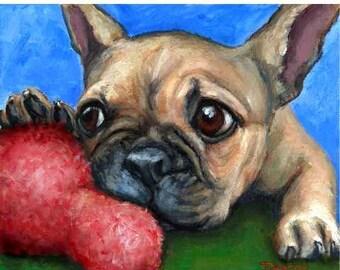 French Bulldog Art Print by Dottie Dracos, Frenchie Puppy with Big Toy, Dog Art