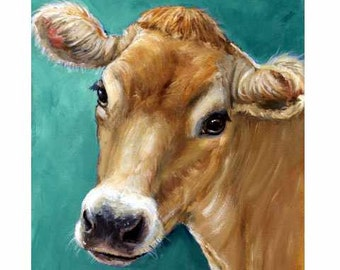 Jersey Cow  Art Print, Dracos, Jersey Cow on Teal, Farm Art, Various Sizes