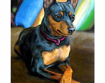 Miniature Pinscher Dog Art Print Painting by Dottie Dracos, Minpin Formal with Pillows