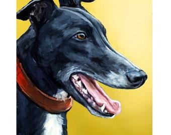 Greyhound  Art Dog Art Print of Original Painting by Dottie Dracos, Greyhound on Yellow