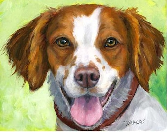 Brittany Spaniel Dog Art Print Painting by Dottie Dracos, Brittany on Green