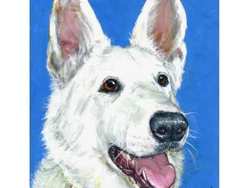 German Shepherd Dog Art Print by Dottie Dracos, White German Shepherd