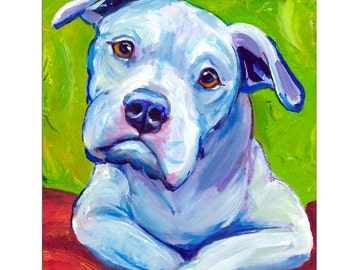 "American Bulldog Dog Art Print of Original Painting by Dottie Dracos ""American Bully on Elbows"""