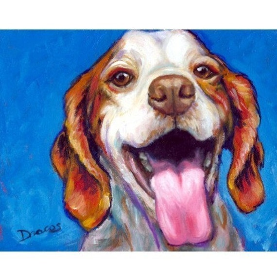 "Brittany Spaniel Art Print of Original Acrylic Painting  ""Big Smile"""