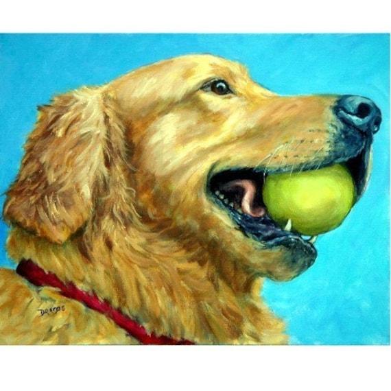 Golden Retriever Art Print of Original Painting Dog Art by Dottie Dracos, Goldie Profile with Tennis Ball, Dog Artist, Retriever Art