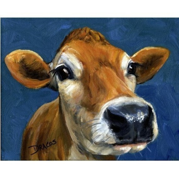 Jersey Cow Farm Animal Art Print of Original Painting by