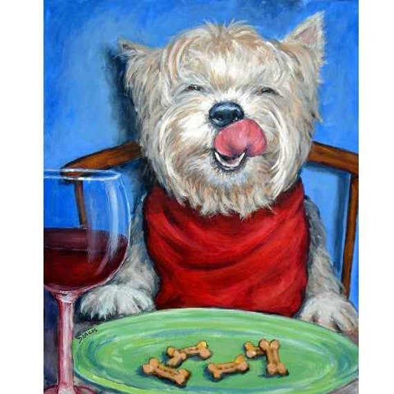 West Highland White Terrier Dog Art Print by Dottie Dracos, Westie with Wine