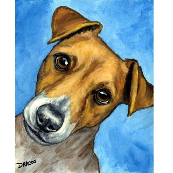 Jack Russell Dog Art 8x10 Original Painting By Dottie Dracos