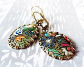 tango - vintage tin and brass earrings