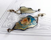what remains - vintage tin and pyrite earrings