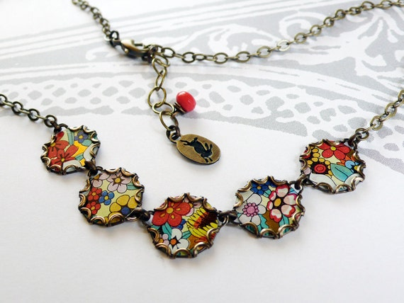 flowery - tin and brass necklace