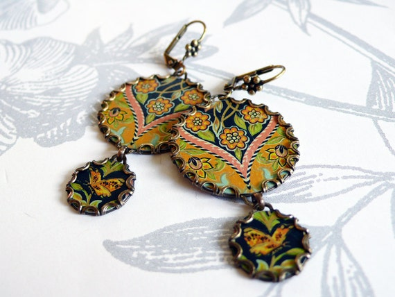 bohemian spring - vintage tin and brass earrings