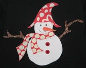 Sam the Snowman on Black Top, Snowman Gift, Snowman Party Gift, Snowman Party Shirt, Snowman Top, Holiday Top, Winter Holiday Top