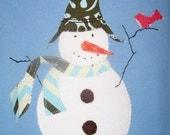 Sam the Snowman w/bird Friend Top, Snowman Top, Kids Snowman Shirt, Snowman Gift, Snowman Party, Holiday Party Shirt, Christmas Party Shirt