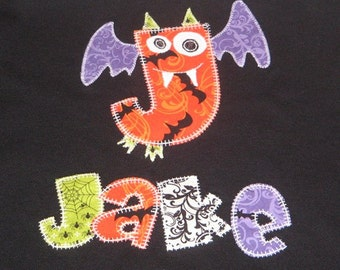 Personalized Large Letter Made into Bat and Full Name Top Stitched with Glow in the Dark Thread, Halloween Party, Halloween Gift, Glow Party