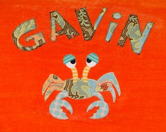 Personalized Large Orange Velour Beach Towel with Crab, Kids Bath Towel, Camp Towel, Pool Towel, College Towel,Baby Towel,Personalized Towel